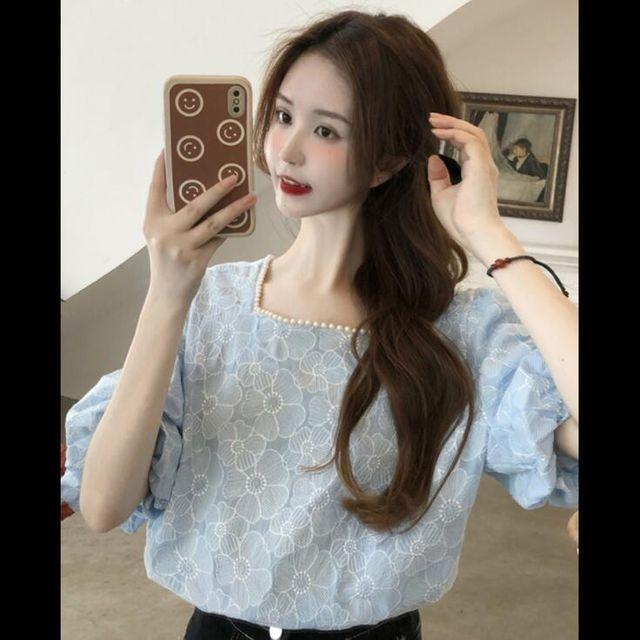 [해외] 여성 스퀘어넥 벌룬소매 쉬폰셔츠 블라우스