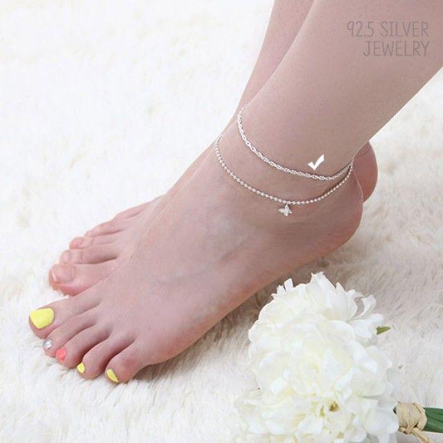 【韩国直邮】92.5 Silver银色链式脚链