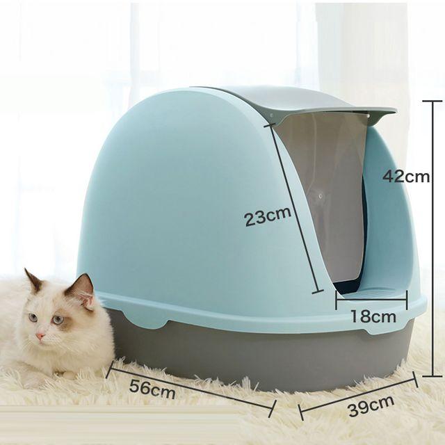 [해외] 고양이 화장실 반밀폐형 대형 캣토일렛