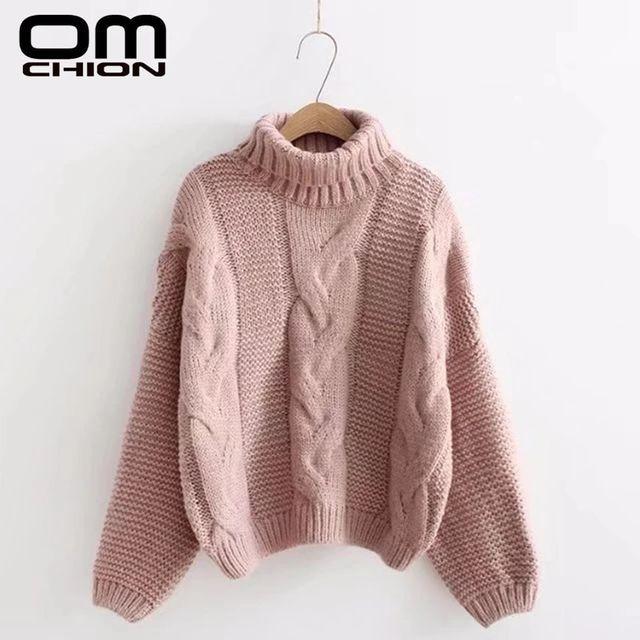 [해외] OMCHION Pull Femme 2021 겨울 한국 터틀넥 트위스트