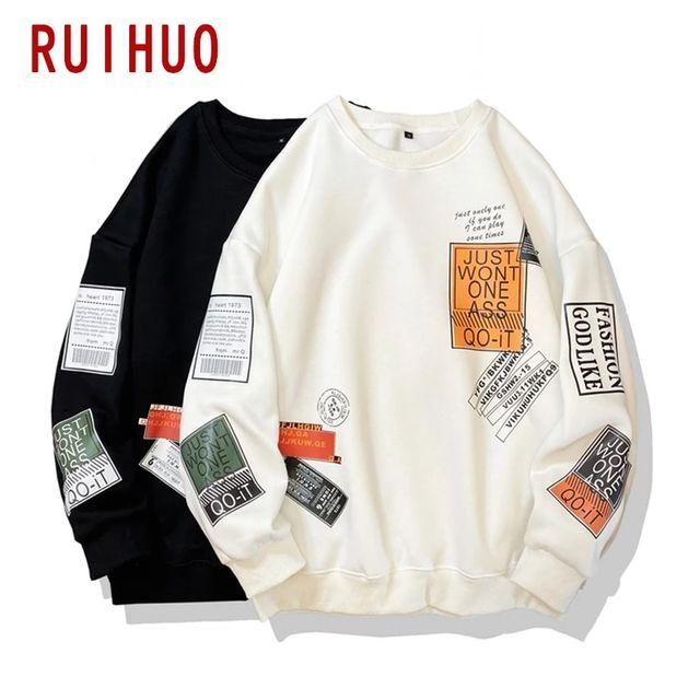 [해외] RUIHUO 캐주얼 셔츠 남성 의류 하라주쿠 Streetwear