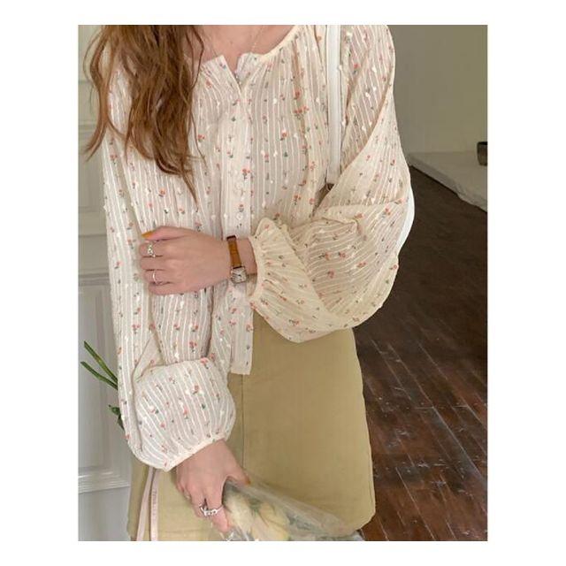 [해외] 여성 벌룬소매 인화 블라우스 라운드넥 쉬폰 셔츠