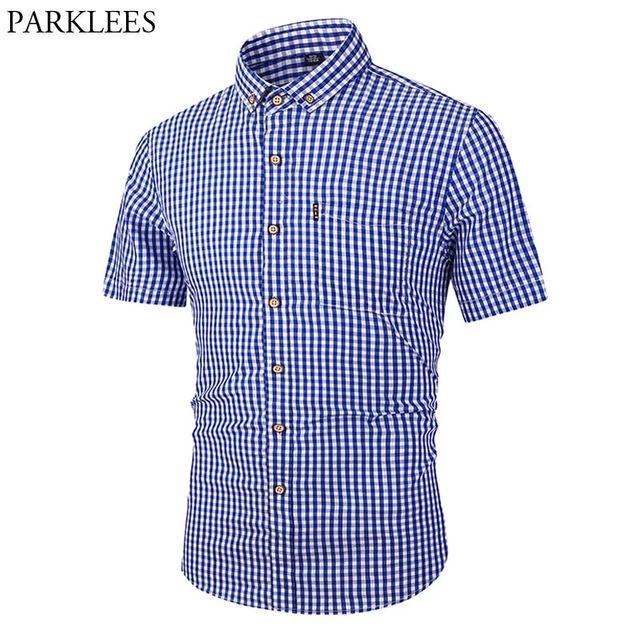 [해외] 작은 격자 무늬 단추 아래로 셔츠 남자 2019 여름 새