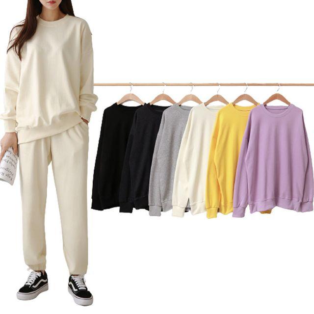 W 여자 루즈핏 옷 라운드넥 데일리 패션 코디 티셔츠
