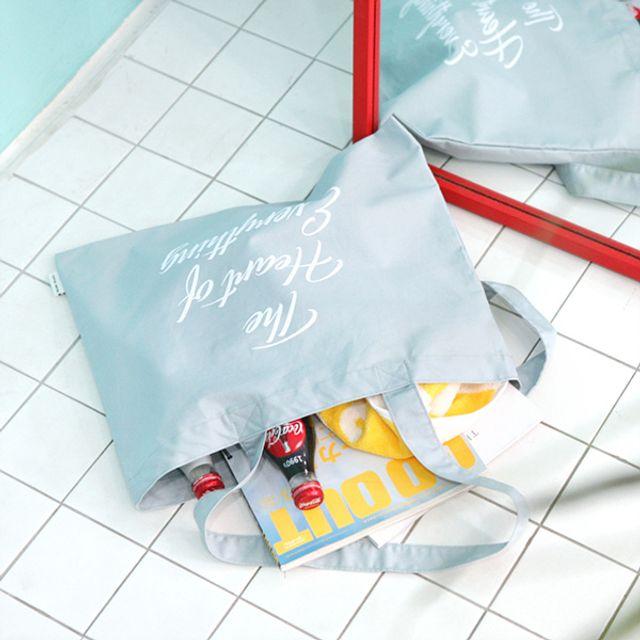 프린팅 데일리 에코백-블루 [제작 대량 도매 로고 인쇄 레이저 마킹 각인 나염 실크 uv 포장 공장 문의는 네이뽕]