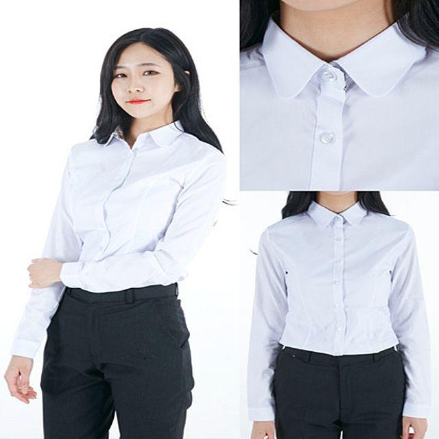 교복셔츠,교복와이셔츠,블라우스고급스판,교복셔츠,둥근카라여자셔츠