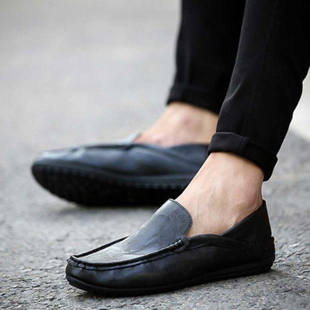 남자 인조 가죽 로퍼 발편한 정장 슬립온 구두 신발