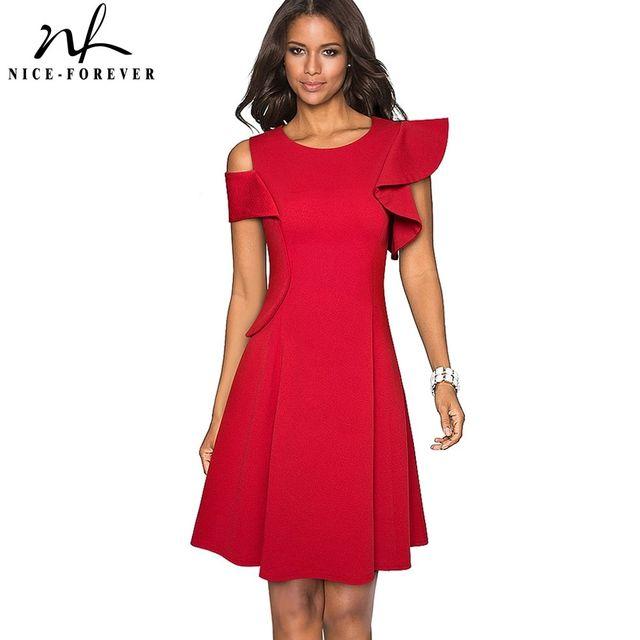 [해외] 니스-영원히 빈티지 단색 세련된 프릴 슬리브 드레스