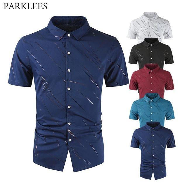 [해외] 남성 실크 셔츠 불규칙한 라인 프린트 남성 셔츠 버튼