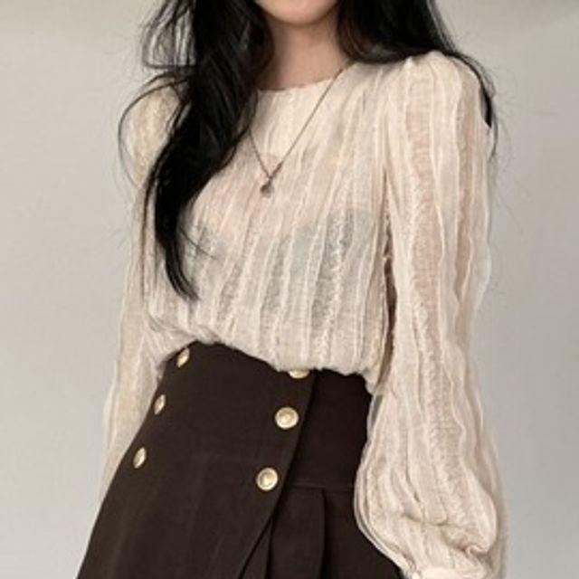 W 여성 레이스 시스루 데일리 패션 유니크 블라우스