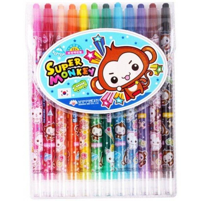다이아몬드 몽키색연필 12색 미술용 교육용 학습용 색연필 [제작 대량 도매 로고 인쇄 레이저 마킹 각인 나염 실크 uv 포장 공장 문의는 네이뽕]