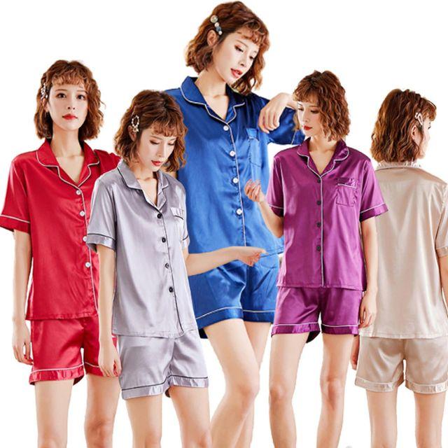 W 여자 고급 잠옷 파자마 파티 광택 잠옷 홈웨어 세트