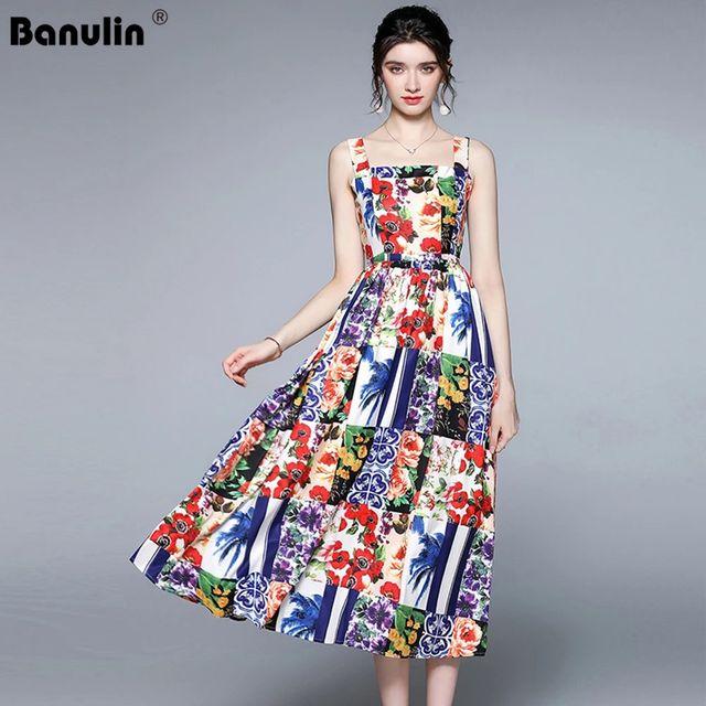 [해외] Banulin 2021 여름 여성 스파게티 스트랩 비치 드레스