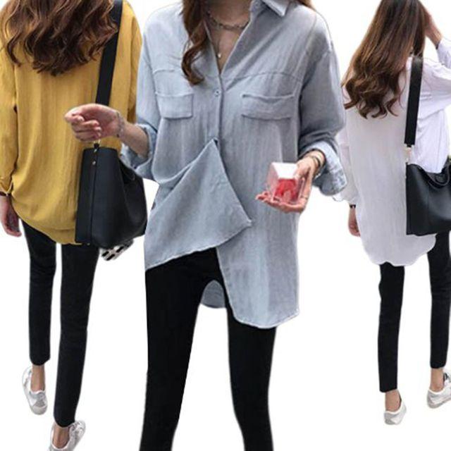W 베이직한 디자인 컬러 여자 외출 기본 셔츠 블라우스