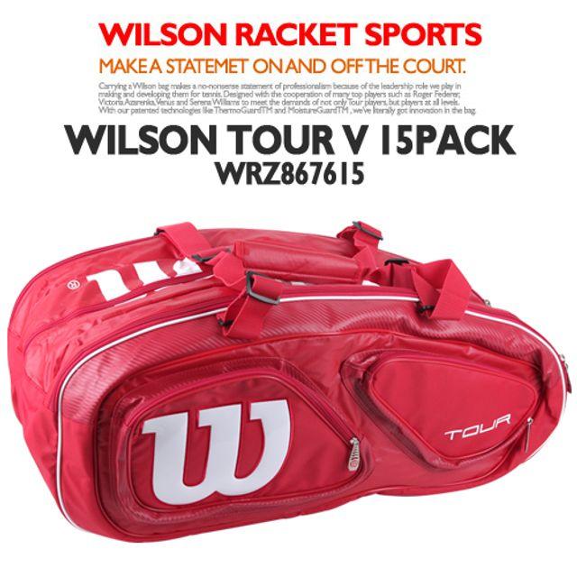 윌슨 WRZ867615 TOUR V 15PACK 레드 테니스가방 가방
