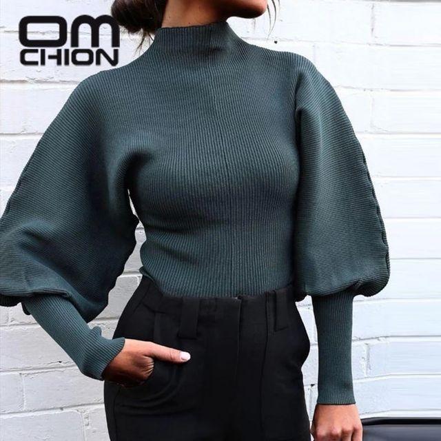 [해외] OMCHION Pull Femme 2021 봄 퓨어 컬러 랜턴 슬리브