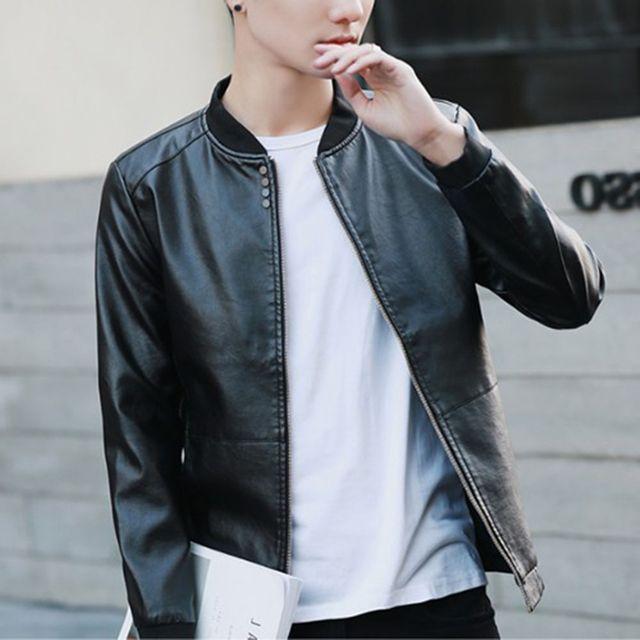 W 남자 외출 패션 자켓 오토바이 패션 가죽 라이더 자켓