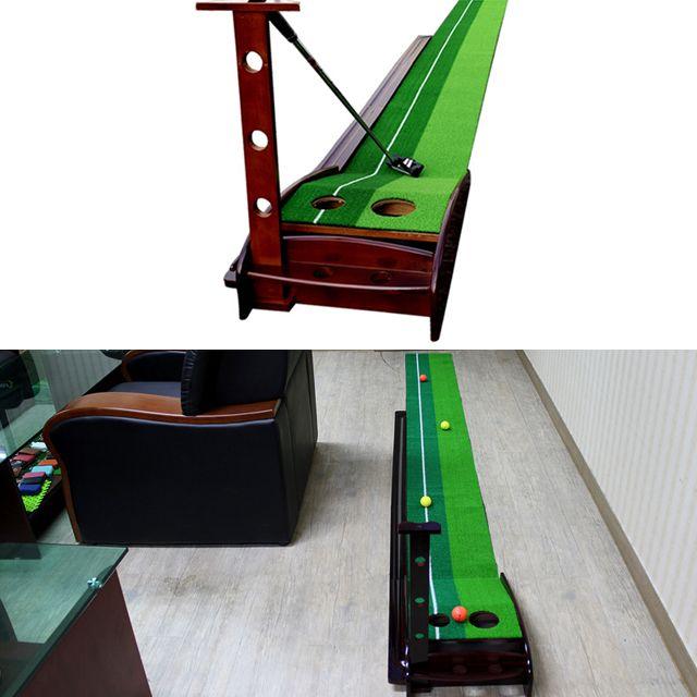 원목 레일 골프 퍼팅매트 3m 골프연습기 퍼팅연습기