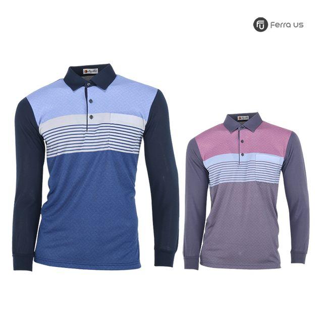 W TCC_페라어스 남성 골프 스판 라인배색 티셔츠 CTNE20