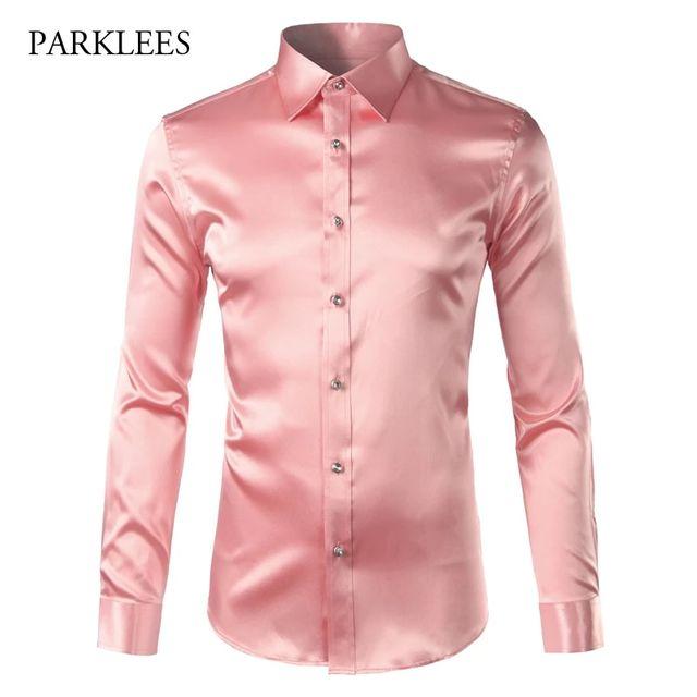[해외] 핑크 실크 새틴 셔츠 남자 2017 패션 긴 소매 망 슬림