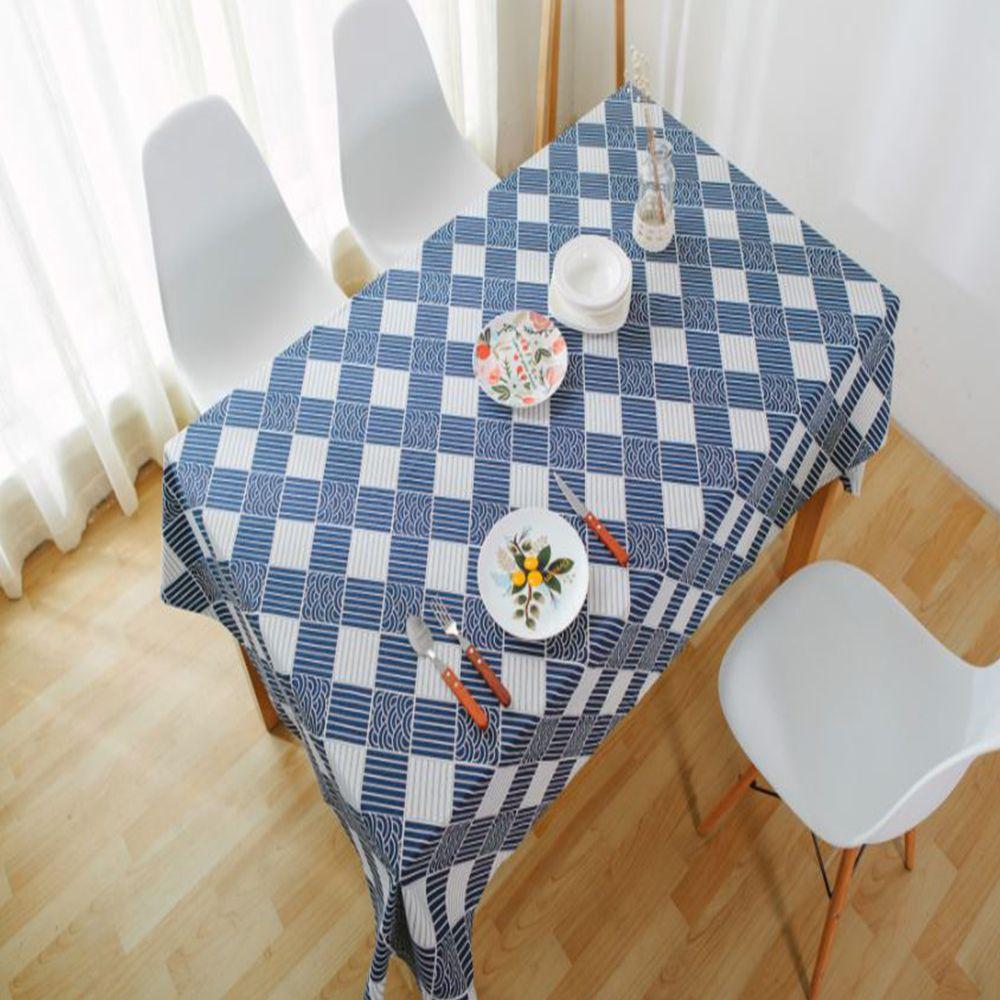 린넨 물결격자 식탁보 대(140x180) 블루