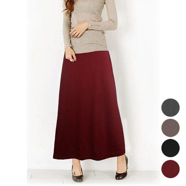 W 면 롱스커트 데일리 여성 패션 깔끔한 긴 치마