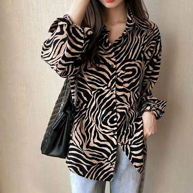 W 여성 지브라 패턴 세미정장 캐주얼 패션 긴팔 셔츠
