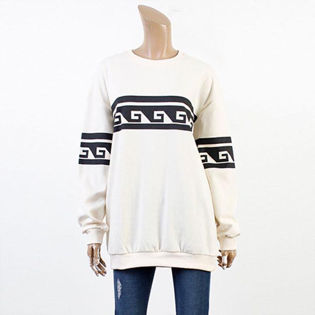 웨이브 맨투맨 2색 라운드넥 프린팅 티셔츠
