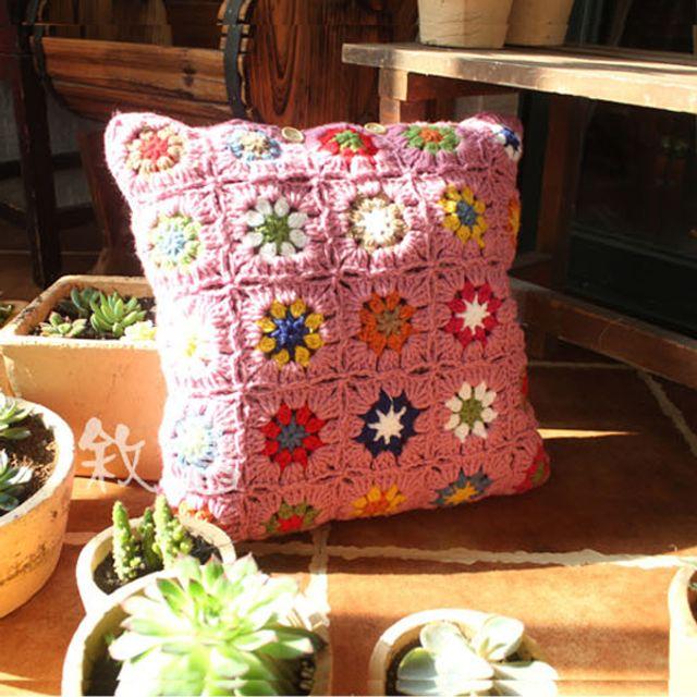 스칸디나비아 뜨개질 빈티지 핑크 쿠션 커버