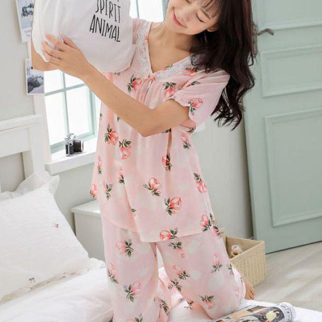 W 꽃무늬 패턴 여자 비스코스 잠옷 홈웨어 상하의 세트