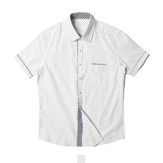 심플 사선 포인트 화이트 반팔셔츠