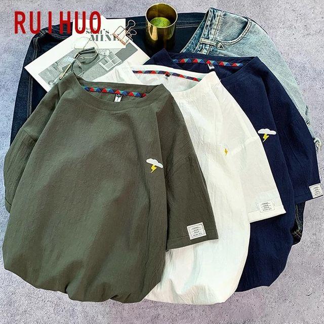 [해외] RUIHUO 남성용 반팔 빈티지 T 셔츠 남성용 T 셔츠 남