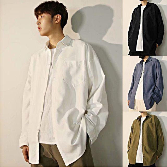 W 남성 베이직 오버핏 무지 모던 포켓 남방 셔츠