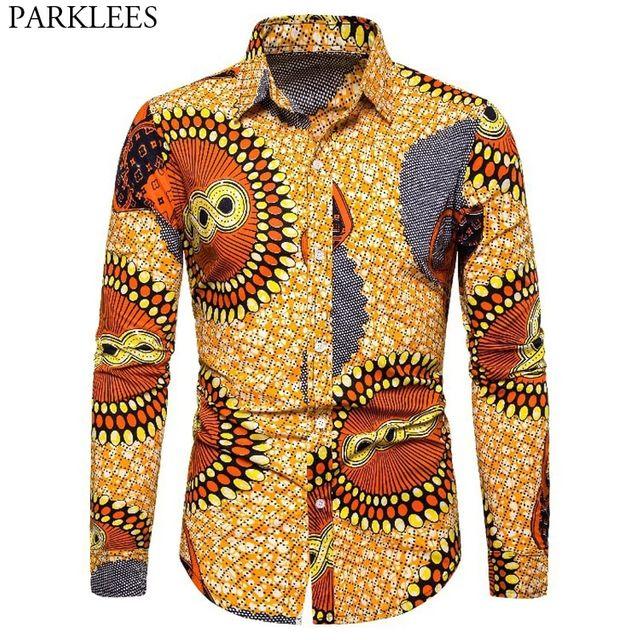 [해외] 남성 아프리카 프린트 드레스 셔츠 인과 버튼 다운 대