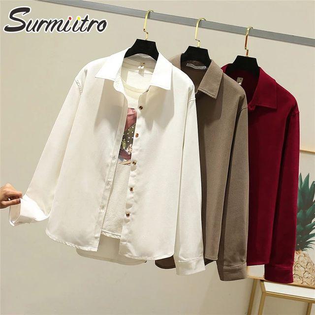 [해외] SURMIITRO 코듀로이 캐주얼 셔츠 여성 2021 봄 가을