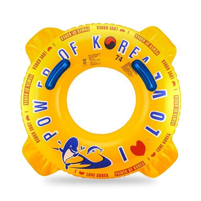 [현재분류명],손잡이가 달린 돌고래무늬원형 튜브(노랑)아동용,