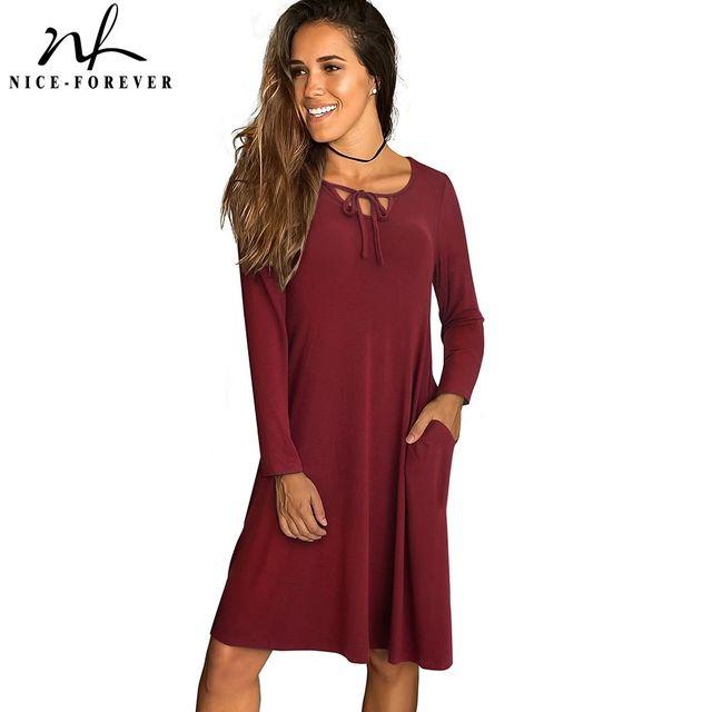 [해외] 니스-영원히 봄 여성 패션 솔리드 컬러 줄무늬 드레스