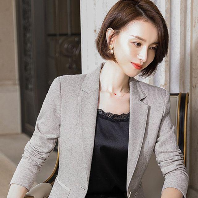 [해외] 여성 패션 재킷 자켓 정장세트기 얇은 모직 정장
