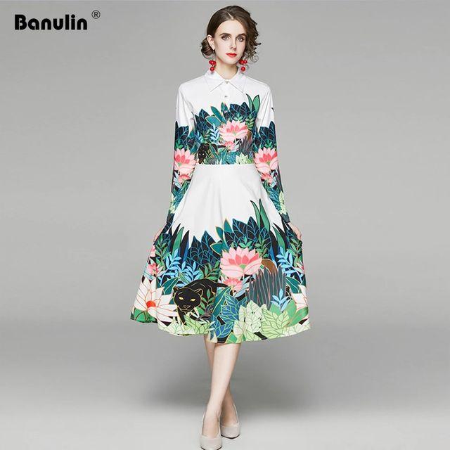 [해외] Banulin 2020 봄 가을 긴 소매 꽃 비치 드레스 여성