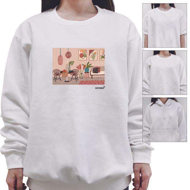 W 키밍 인테리어 여성 남성 티셔츠 후드 맨투맨 반팔티
