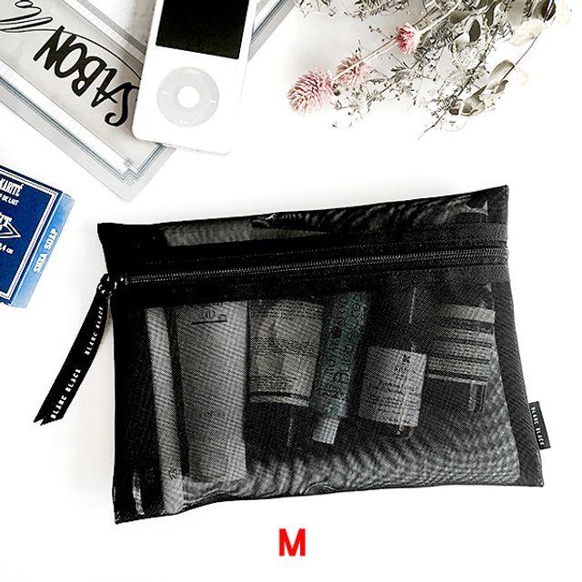 납작 메쉬 사각파우치(M)-블랙 [제작 대량 도매 로고 인쇄 레이저 마킹 각인 나염 실크 uv 포장 공장 문의는 네이뽕]