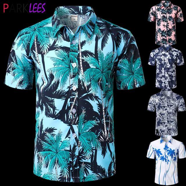 [해외] 남성 캐주얼 반소매 알로하 하와이 셔츠 반소매 팜 트