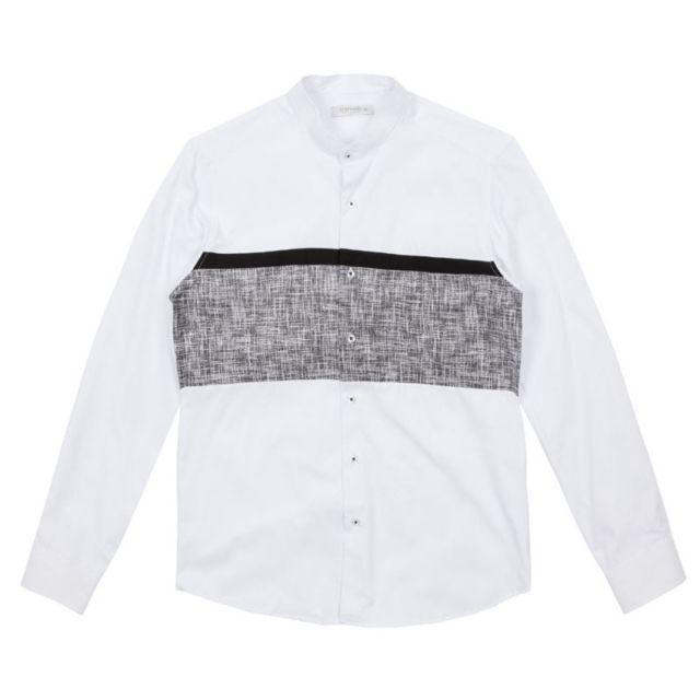 남자셔츠 차이나카라 배색 셔츠 J0417001