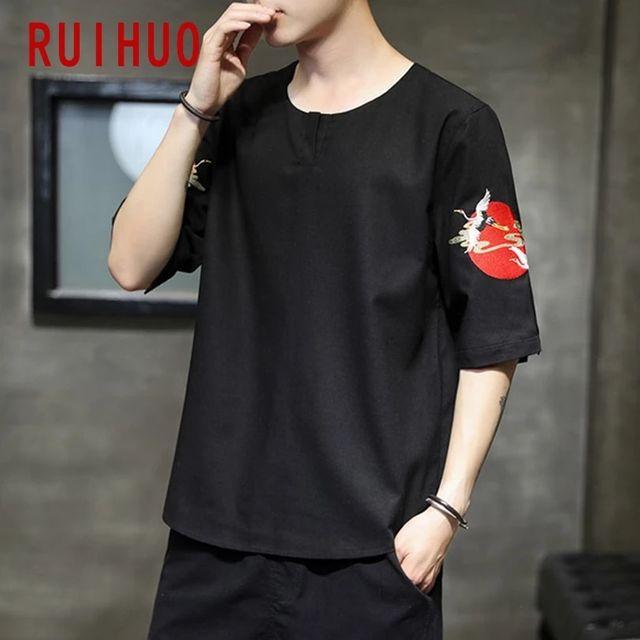 [해외] RUIHUO 크레인 코튼 T 셔츠 남성 의류 티 셔츠 남성