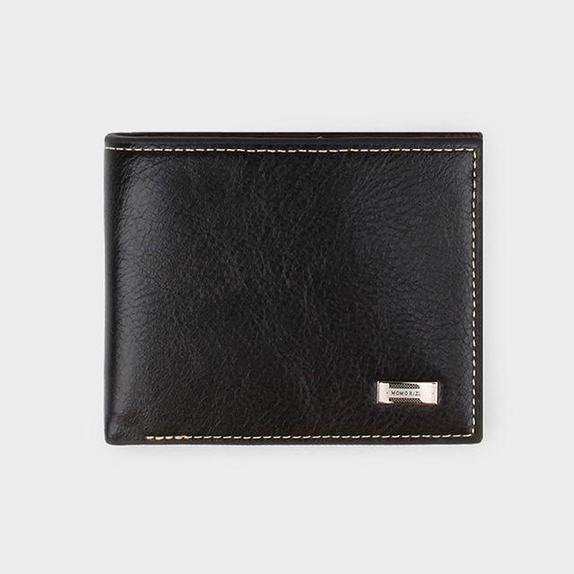 W 남성 모던 반지갑 DS6 합피 실용 남자 지갑 -블랙