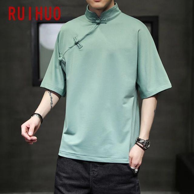 [해외] RUIHUO 중국 스타일 빈티지 T 셔츠 남성 의류 블랙 T-