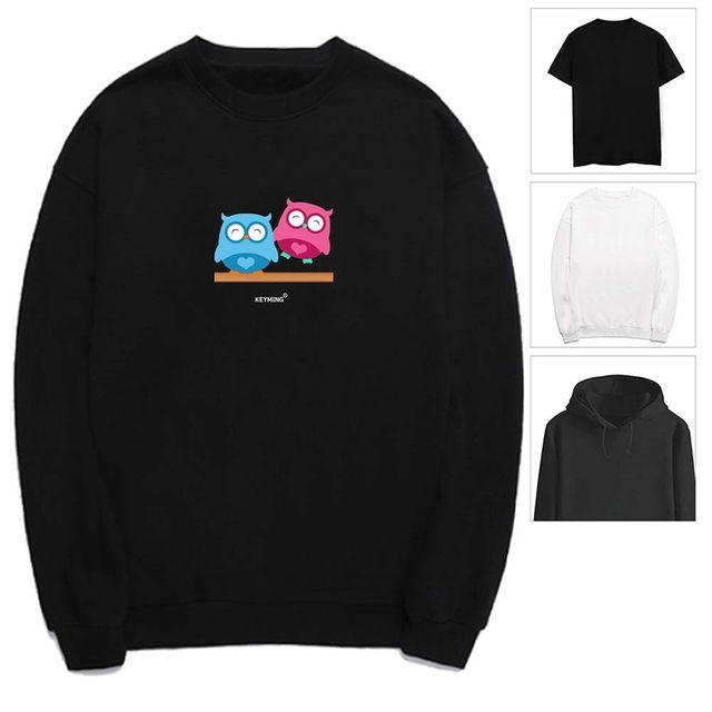 W 키밍 부엉이 커플 여성 남성 티셔츠 후드 맨투맨 반팔