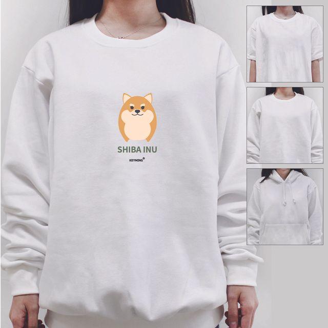 W 키밍 시가견 여성 남성 티셔츠 후드 맨투맨 반팔티