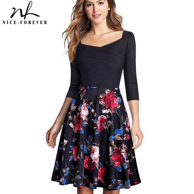 [해외] 니스-영원히 레트로 우아한 꽃 프린트 드레스 캐주얼