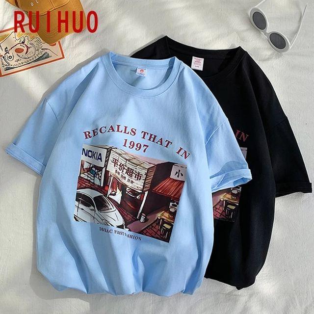 [해외] RUIHUO 일본 스타일 코 튼 T 셔츠 남성 의류 짧은 소